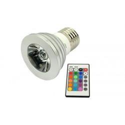 RGB LED žárovka E27 3W RGB s dálkovým ovladačem