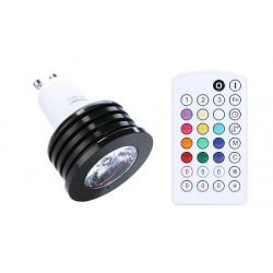 Music RGB LED žárovka GU10 4W RGB s dálkovým ovladačem