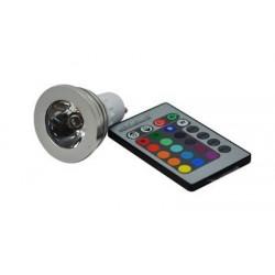 RGB LED žárovka GU10 3W RGB s dálkovým ovladačem
